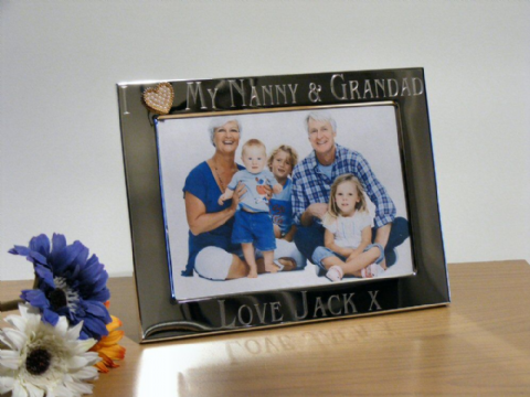 Gold Heart Photo Frame Personalised I Love My Nanny & Grandad Gift